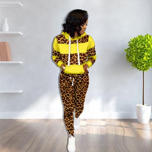 Yellow Thick Patchwork Hoodie Sweaters Skinny Leopard Print Pants Sets YX9158