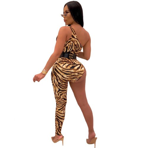Yellow One Shoulder Leopard Print Sexy Jumpsuits ML7251