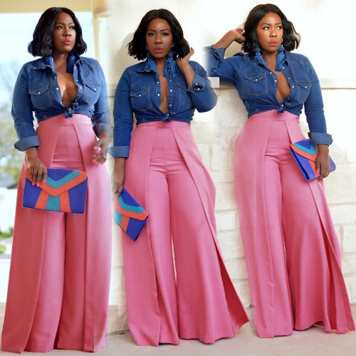 Pink High Waist Solid Wide Leg Loose Trousers YX9152