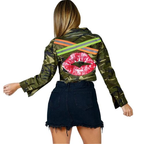 Camouflage Women Fashion Hip Hop Crop Jackets N9170