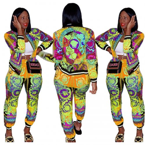 Colorful Yellow Casual Female Colorful Printing Outdoor Autumn Pants Suits LY5101