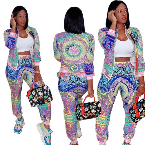 Colorful Silver Casual Female Colorful Printing Outdoor Autumn Pants Suits LY5101