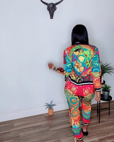 Colorful Green Casual Female Colorful Printing Outdoor Autumn Pants Suits LY5101
