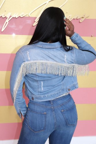 Light Blue New Design Tassel Fringe Demin Jackets X9203