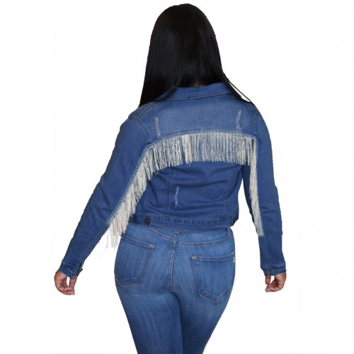 Blue New Design Tassel Fringe Demin Jackets X9203