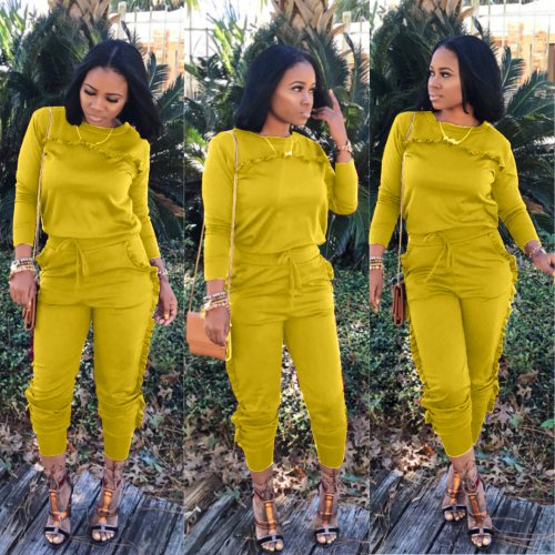 Yellow Sport Autumnal Long Style Pure Color Ruffle Two-Piece Suits LS6045