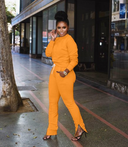 Orange Pure Color Stylish Running Sports Tracksuits For Women ARM8028