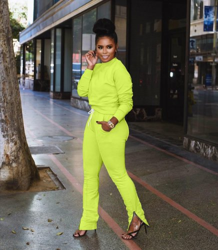Yellow Pure Color Stylish Running Sports Tracksuits For Women ARM8028