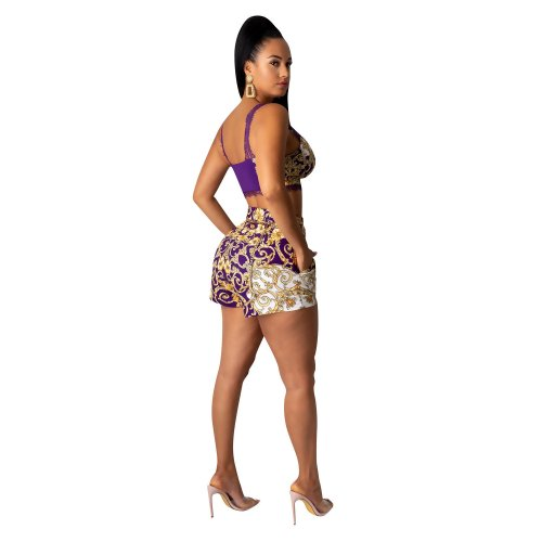 Purple Cheap Lace Printing Suits Tank Top High Waist Shorts CY1197
