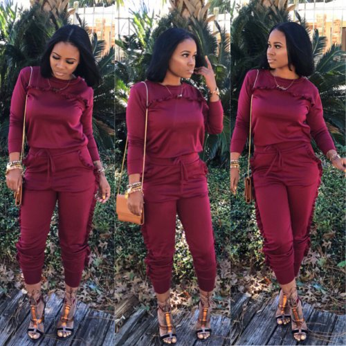 Burgundy Sport Autumnal Long Style Pure Color Ruffle Two-Piece Suits LS6045