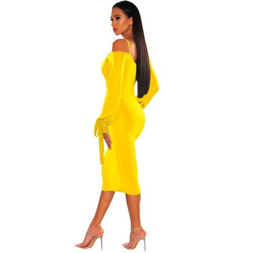 Yellow Sexy Strappy Off Shoulder Bodycon Long Sleeves Ankle Dress XZ3314