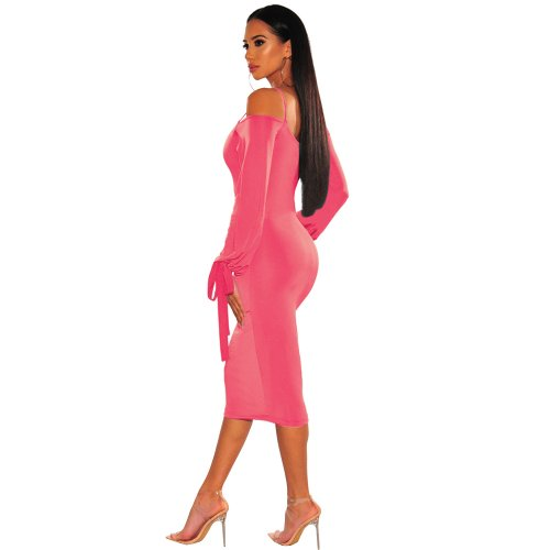 Pink Sexy Strappy Off Shoulder Bodycon Long Sleeves Ankle Dress XZ3314