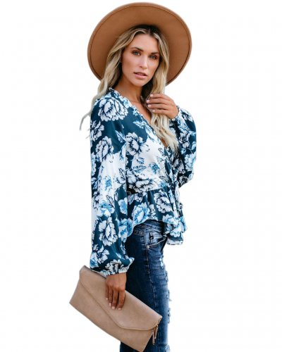Blue Long Sleeves Flower Printing Surplice Neck Shirts MD271