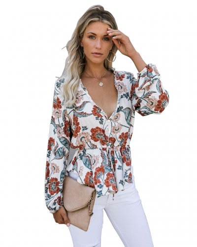 Apricot  Long Sleeves Flower Printing Surplice Neck Shirts MD271
