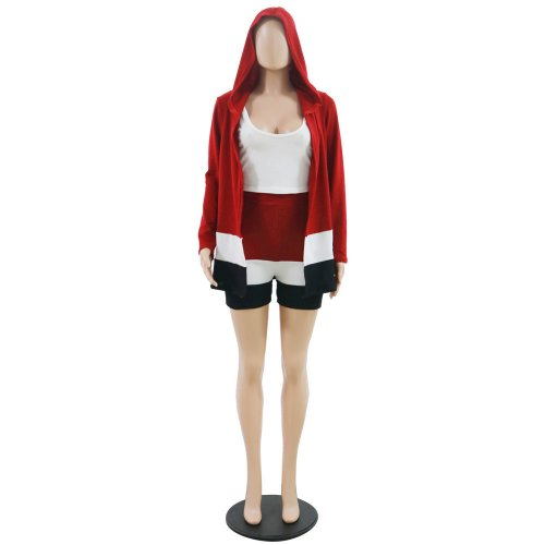 Red Hot Sale Color Matching Hood Long-Sleeved Jacket Shorts Three-Piece MA6265