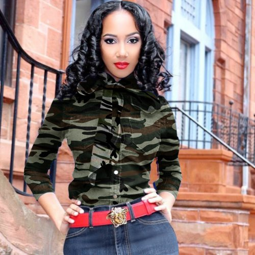 Sexy Women's Clothes Exploded Camouflage Button Tie Jeans Jacket