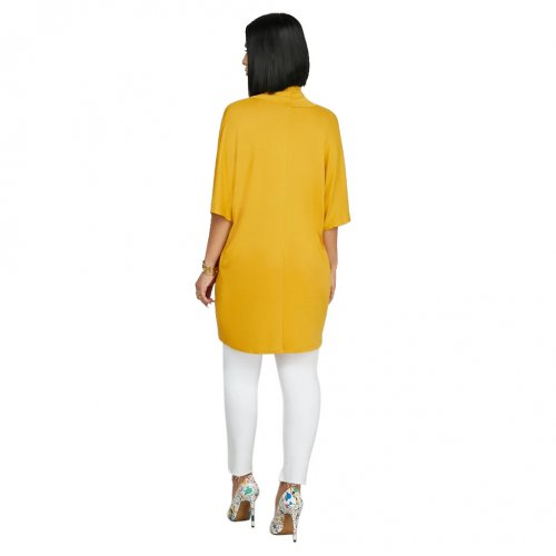 Yellow Solid Wrap Pleated Short Sleeves Casual Blouse SMR9420