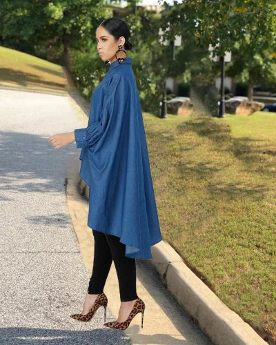 Women's Bat Sleeve Front Short Back Long Loose Jacket