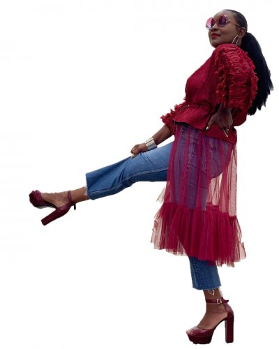Red Flowing Jacket with Translucent Tulle