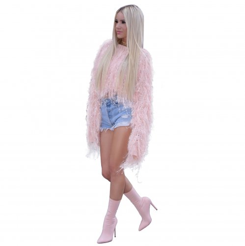 Pink Autumn and Winter Sweater Jacket Fashionable Manual Fringed Knitted Pullover Sweater