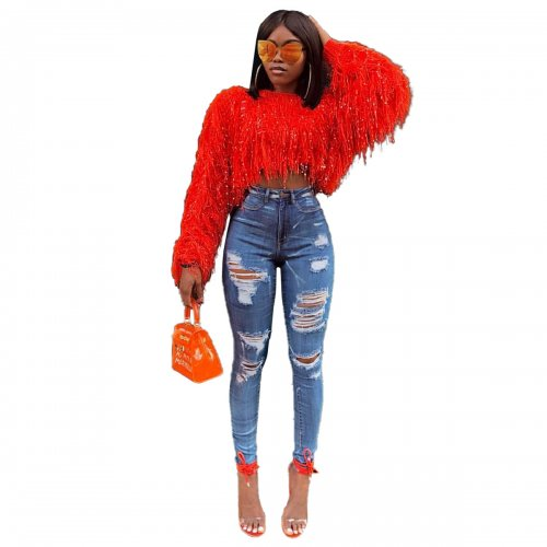 Red Autumn and Winter Sweater Jacket Fashionable Manual Fringed Knitted Pullover Sweater