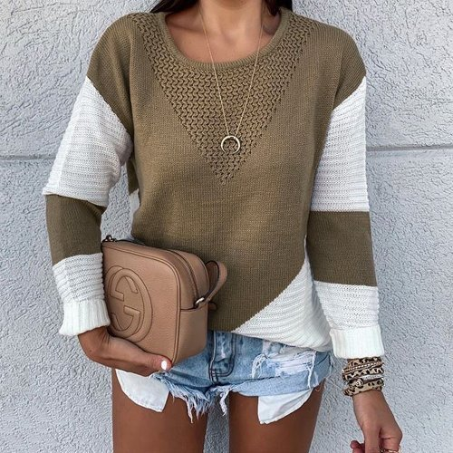 New Long Sleeve Round Collar Stitching Casual Loose Knitted Woman Sweater