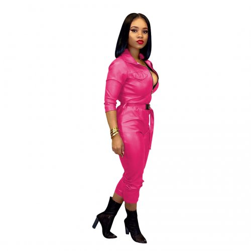 Casual Fashion Pink Color High Elastic Leather one-piece Pants Including Belt