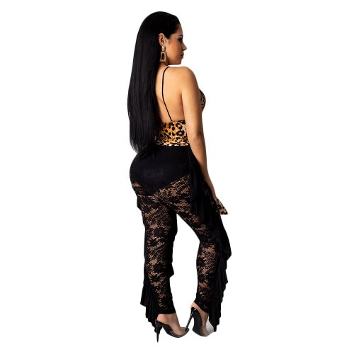 Cut Out Sexy Suspender V-neck Leopard Print Lace Splicing Perspective One-piece Pants Nightwear