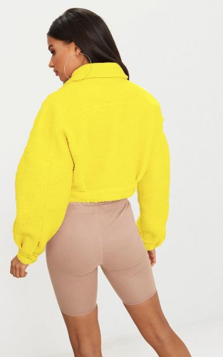 Yellow Winter Thick Short Fluff Jackets For Women A8498