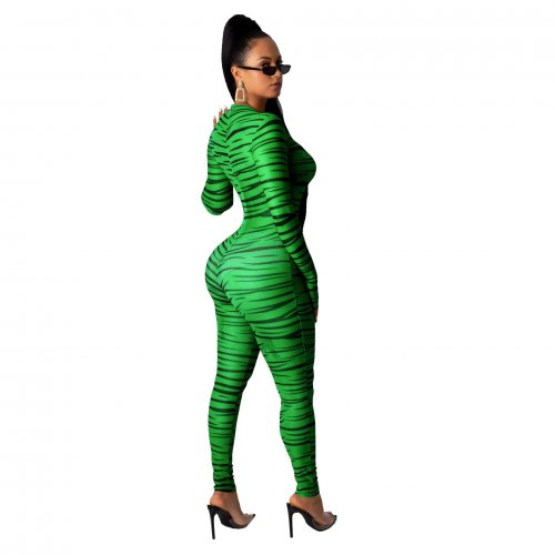 Green Wholesale Slim Bodycon Zebra Printed Long Jumpsuit SMR9464