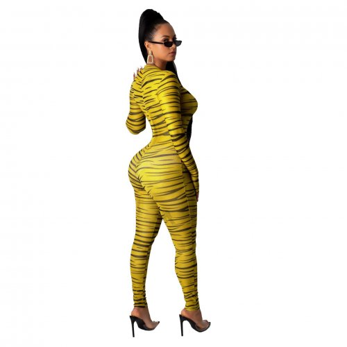 Yellow Wholesale Slim Bodycon Zebra Printed Long Jumpsuit SMR9464