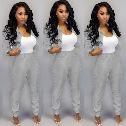 Silver Club Shiny Fashion Outfits Women Jacket Bodycon Pants LY5106