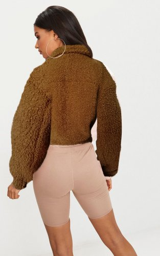 Khaki Winter Thick Short Fluff Jackets For Women A8498