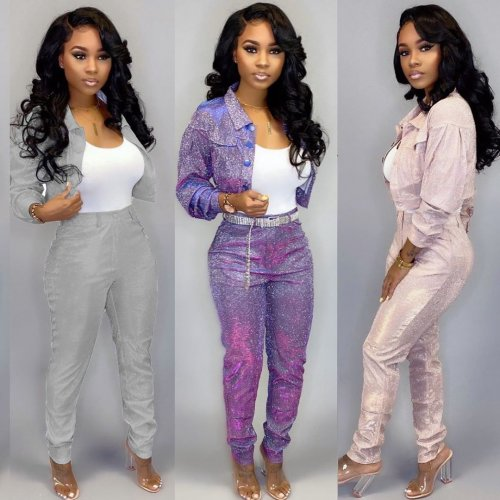 Pink Club Shiny Fashion Outfits Women Jacket Bodycon Pants LY5106