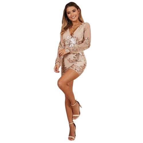 Women Long Sleeves Party Sequin V Collar Wrap Dress JLX8871