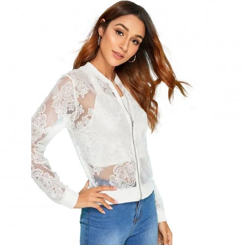 White Euramerican Sexy Zipper Perspective Lace Jacket For Women ZS005