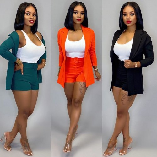 Black Mature Women Solid Career Sets Cardigan Coat Bodycon Shorts CM628