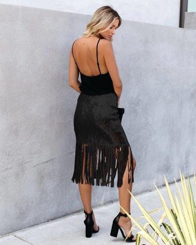 Black Fashion High Waist Tassel Solid Sequins Skirt For Women QZ3288