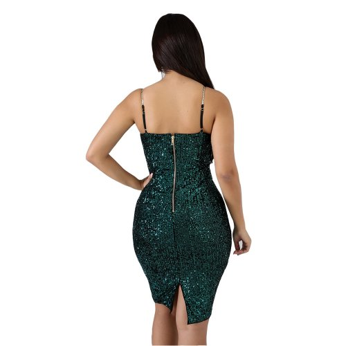Green Autumn Winter Sequin Bodycon Split Club Strappy Dress JLX8916