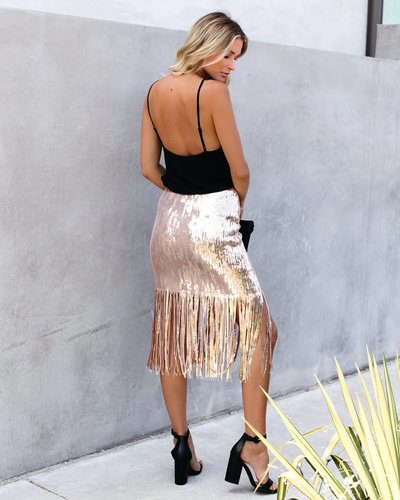 Gold Fashion High Waist Tassel Solid Sequins Skirt For Women QZ3288