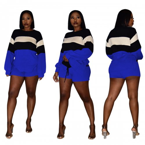 Blue Striped Long Sleeve T Shirts Mini Shorts Fashion Sets CM633