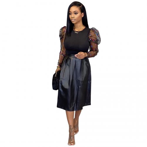 Mesh Sleeves Bodycon T-Shirt Pu Leather Black Skirt Hot Sell Sets SY8402