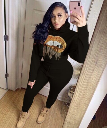 Black Women Thick Lip Print Hoodie Tops Elastic Pants Outfits LY5117