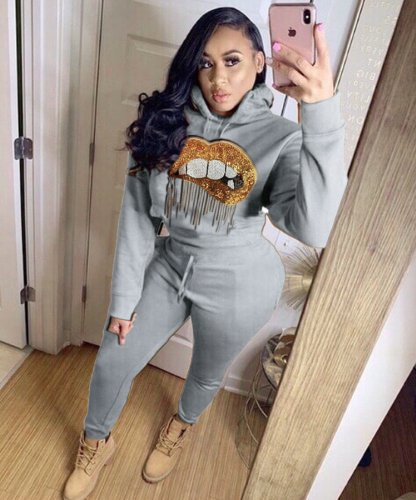 Gray Women Thick Lip Print Hoodie Tops Elastic Pants Outfits LY5117
