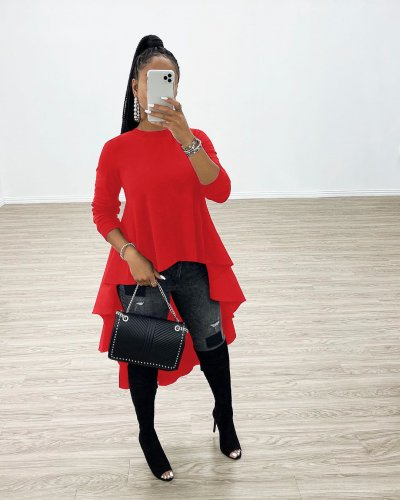 Red round neck long sleeve ruffled top tee t-skirt X9217