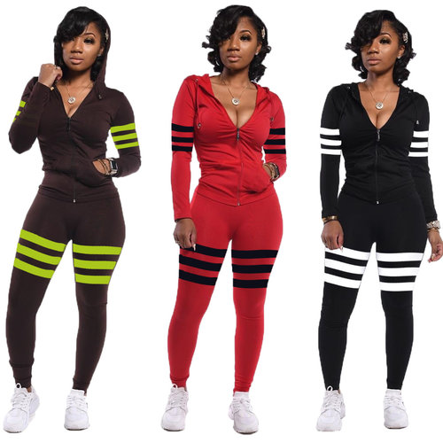 Brown Stylish 3 Colors Female Stripe Splicing Hooded Tracksuits ED8151