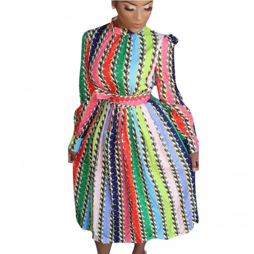 Latest Striped Long Sleeve Multicolor Street Style Dress QQM3885
