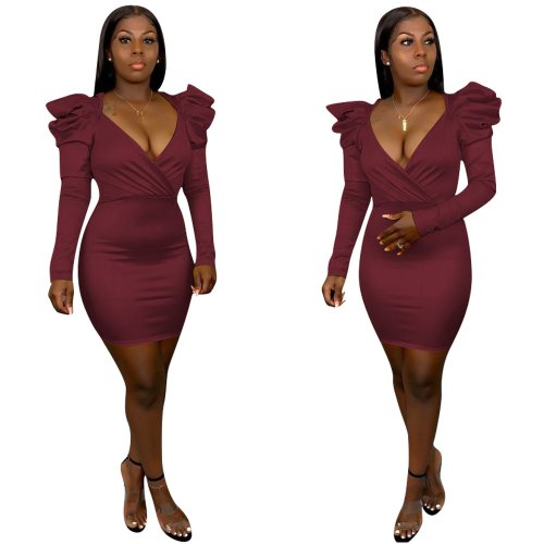 Wine Red Pu Leather V Collar Bodycon Pure Color Oversize Wrap Dress H1243
