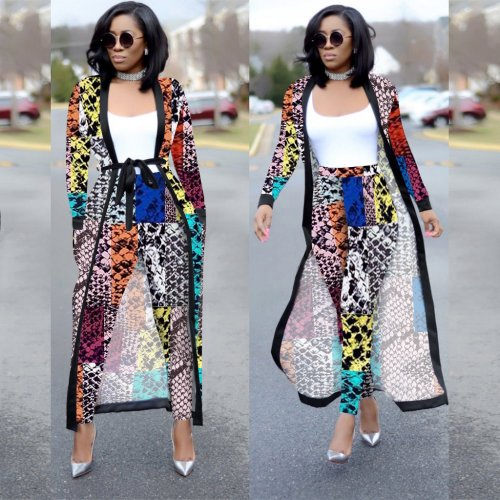 Snake Pattern Female Printed Sets Long Sleeves Jackets+Bodycon Leggings QQM3535