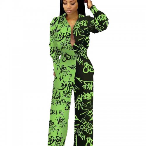 Green New Design Printing Cardigan High Waist Straight Jumpsuit MN8069